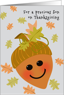 Son First Thanksgiving Cute Acorn and Falling Oak Leaves card