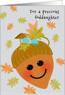 Goddaughter First Thanksgiving Cute Acorn Falling Oak Leaves card