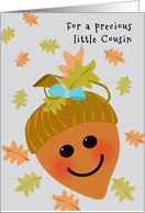 Girl Cousin First Thanksgiving Cute Acorn Falling Oak Leaves card