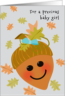 Baby Girl First Thanksgiving Cute Acorn Falling Oak Leaves card