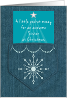 Sister Christmas Money Enclosed Denim Pocket Blue Jeans Look card