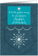Daughter Christmas Money Enclosed Denim Pocket Blue Jeans Look card