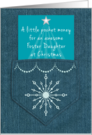 Foster Daughter Christmas Money Enclosed Denim Blue Jeans Look card