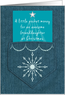 Granddaughter Christmas Money Enclosed Denim Pocket Blue Jeans Look card