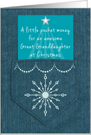 Great Granddaughter Christmas Money Enclosed Denim Blue Jeans Look card