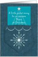 Niece Christmas Money Enclosed Denim Pocket Blue Jeans Look card