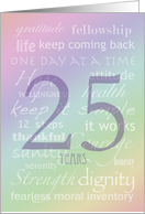 Addiction Recovery 25 Years Anniversary Rainbow Text card