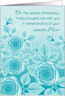 Remembrance of Mum Anniversary Passing Pretty Aqua Blue Rose Garden card