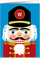 Christmas Monogram Fun Traditional Nutcracker in Red Gold and Blue card