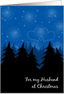 Romantic Christmas from Man to Husband Winter Forest Heart Stars LGBT card