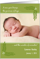 new baby birth announcement happy new year green leaves add a photo card
