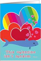 Valentine Funny Cute with Porpoise Bad Pun Hearts and Rainbow card