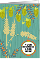 Brewery Christmas Add Your Logo Rustic Hops and Wheat Barn Wood Look card