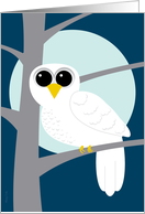 Winter Solstice Snowy Owl on Branch Full Moon Haiku card