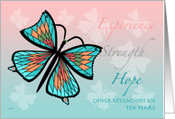 12 Step Recovery 10 Years Butterfly Butterflies card