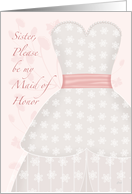 Sister Be My Maid of Honor Lace Shadow card