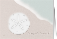 Wedding Congratulations Beach Ocean Theme with Sand Dollar card