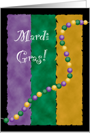 Mardi Gras Party Invitations Colors and Beads card