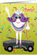 Mardi Gras Party Invitation Egg Diva card