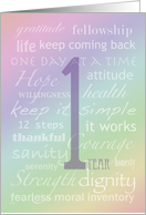Recovery Rainbow Text One Year card