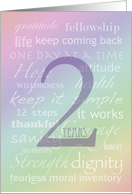 Recovery Rainbow Text 2 Years card