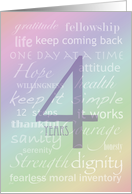 Recovery Rainbow Text 4 Years card
