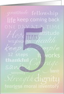 Recovery Rainbow Text 5 Years card