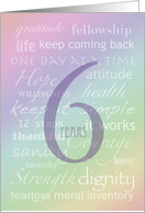 Recovery Rainbow Text 6 Years card