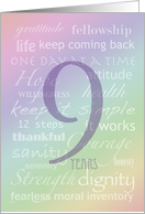 Recovery Rainbow Text 9 Years card