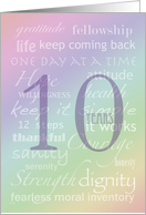 Recovery Rainbow Text 10 Years card