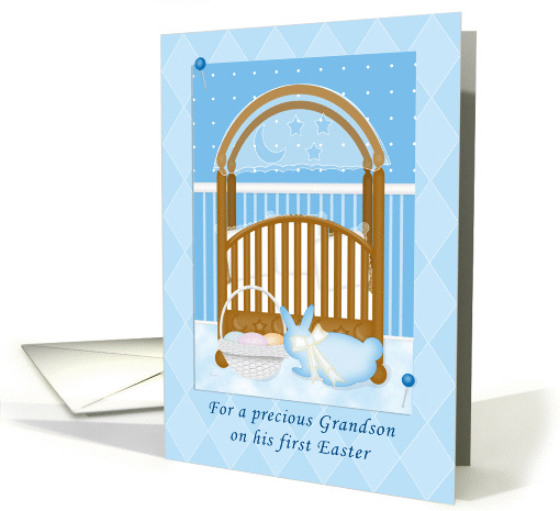 Baby's Crib Grandson's First Easter card (360045)