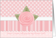 Pink Rose Dots & Stripes Cousin Flower Girl card