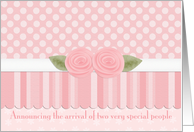 Pink Rose Twin Baby Girls Announcements card