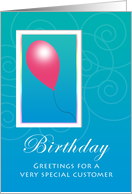 One Balloon Business Customer Birthday card