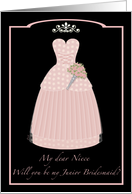Princess Pink Niece Junior Bridesmaid card