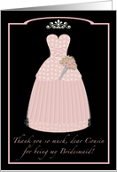 Pink Princess Cousin Thanks Bridesmaid card