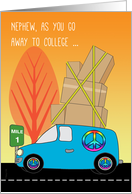 Nephew Away to College in a Blue Van Packed with Boxes Down the Road card