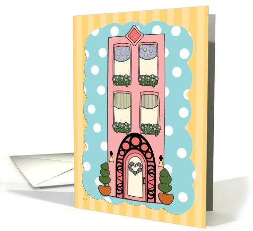 Blank Notecard Pink Deco Apartment Building card (507398)