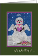 Christmas Remembrance Singing Angel Snowman card