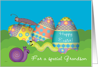 Grandson Easter Eggs Bugs Whimsical card