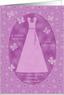 Sister Junior Bridesmaid Invitation Request Purple Butterflies card