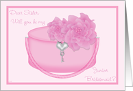 Sister Junior Bridesmaid Invitation Request Pink Peony card