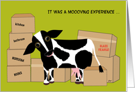 Thank You Moving Help Help Move Cow Funny card
