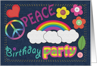 Birthday Party Invitations Peace Sign Denim card