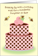 Daughter-in-law Birthday Bees Cake Whimsical card
