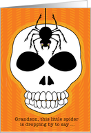 Grandson Happy Halloween Dangling Spider and Skull card