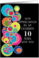 10 Years Employee Employment Anniversary Pop Art on Black card