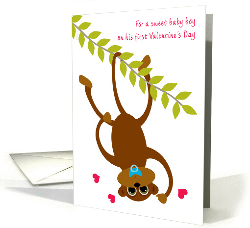 Baby Boy Baby's First Valentine's Day Monkey Swinging card (896075)