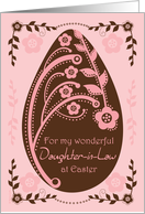 Happy Easter Daughter-in-Law Folk Art Chocolate and Pink Floral Egg card