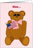 Niece First July 4th Teddy Bear Stars Stripes Forever and Flag card